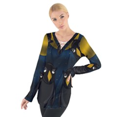 Halloween - black crow flock Women s Tie Up Tee