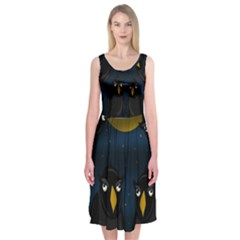 Halloween   Black Crow Flock Midi Sleeveless Dress