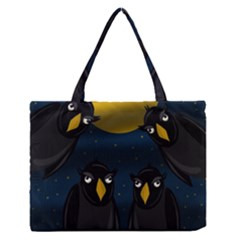 Halloween   Black Crow Flock Medium Zipper Tote Bag