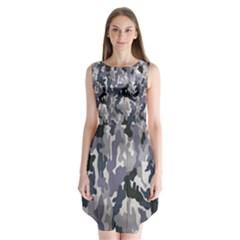 Army Camo Pattern Sleeveless Chiffon Dress