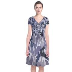 Army Camo Pattern Short Sleeve Front Wrap Dress