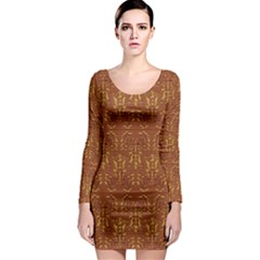 Art Abstract Brown Pattern Long Sleeve Bodycon Dress
