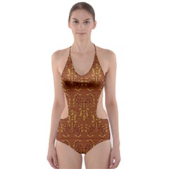 Art Abstract Brown Pattern Cut-Out One Piece Swimsuit