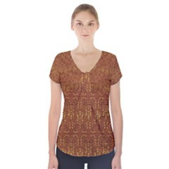 Art Abstract Brown Pattern Short Sleeve Front Detail Top