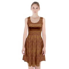 Art Abstract Brown Pattern Racerback Midi Dress