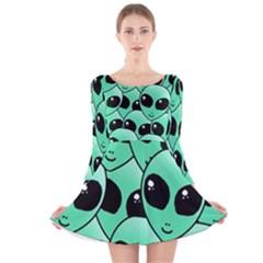 Art Alien Pattern Long Sleeve Velvet Skater Dress