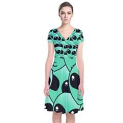 Art Alien Pattern Short Sleeve Front Wrap Dress