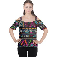 Art Abstract Pattern Women s Cutout Shoulder Tee