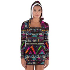 Art Abstract Pattern Women s Long Sleeve Hooded T-shirt