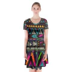 Art Abstract Pattern Short Sleeve V-neck Flare Dress