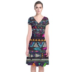 Art Abstract Pattern Short Sleeve Front Wrap Dress