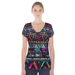 Art Abstract Pattern Short Sleeve Front Detail Top