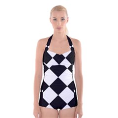 black white Boyleg Halter Swimsuit