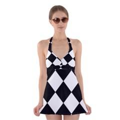 Black White Halter Swimsuit Dress