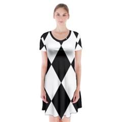 Black White Short Sleeve V Neck Flare Dress