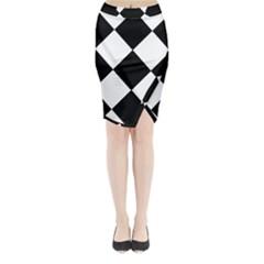black white Midi Wrap Pencil Skirt