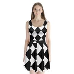 black white Split Back Mini Dress