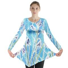 Art Batik Flowers Pattern Long Sleeve Tunic