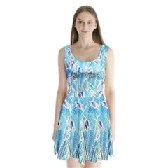 Art Batik Flowers Pattern Split Back Mini Dress