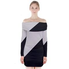 black grey Long Sleeve Off Shoulder Dress