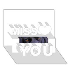 Black Lab Eyes Miss You 3D Greeting Card (7x5)