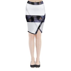 Black Lab Eyes Midi Wrap Pencil Skirt