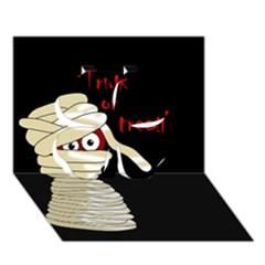 Halloween mummy   Clover 3D Greeting Card (7x5)