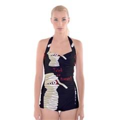 Halloween mummy   Boyleg Halter Swimsuit