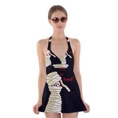 Halloween mummy   Halter Swimsuit Dress