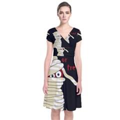 Halloween mummy   Short Sleeve Front Wrap Dress