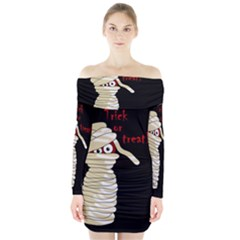 Halloween mummy   Long Sleeve Off Shoulder Dress