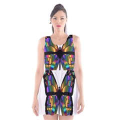 Abstract Animal Art Butterfly Scoop Neck Skater Dress