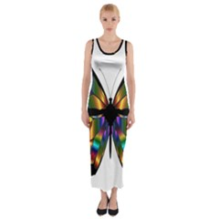 Abstract Animal Art Butterfly Fitted Maxi Dress
