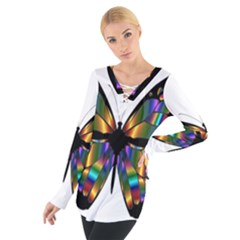 Abstract Animal Art Butterfly Women s Tie Up Tee