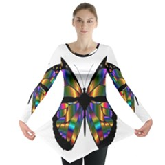 Abstract Animal Art Butterfly Long Sleeve Tunic