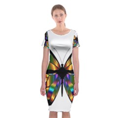 Abstract Animal Art Butterfly Classic Short Sleeve Midi Dress