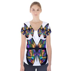 Abstract Animal Art Butterfly Short Sleeve Front Detail Top