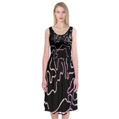 Abstract Glare Visual Art Midi Sleeveless Dress