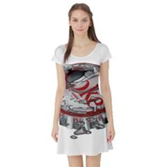 Acrylic Bottle Caps Photorealism Short Sleeve Skater Dress