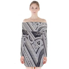 Arches Fractal Chaos Church Arch Long Sleeve Off Shoulder Dress