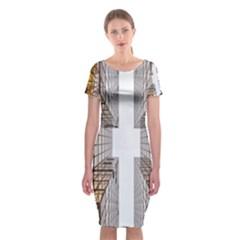 Architecture Facade Buildings Windows Classic Short Sleeve Midi Dress