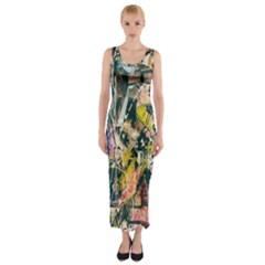 Art Graffiti Abstract Lines Fitted Maxi Dress