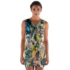 Art Graffiti Abstract Lines Wrap Front Bodycon Dress