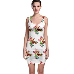 Bells Retro Christmas Paper Ribbon Sleeveless Bodycon Dress