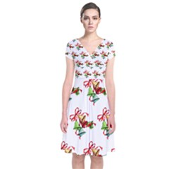 Bells Retro Christmas Paper Ribbon Short Sleeve Front Wrap Dress