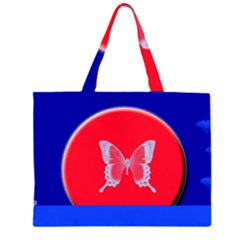 Blue Background Butterflies Frame Large Tote Bag