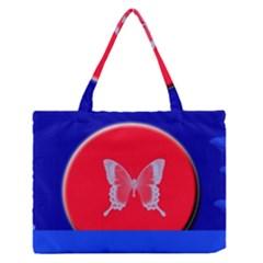 Blue Background Butterflies Frame Medium Zipper Tote Bag