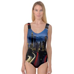 Building And Red And Yellow Light Road Time Lapse Princess Tank Leotard