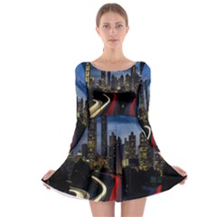 Building And Red And Yellow Light Road Time Lapse Long Sleeve Skater Dress