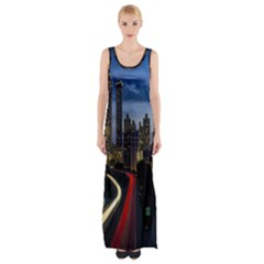 Building And Red And Yellow Light Road Time Lapse Maxi Thigh Split Dress